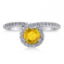 Round Yellow Sapphire & Diamond Nouveau Ring 14k White Gold (1.41 ctw)