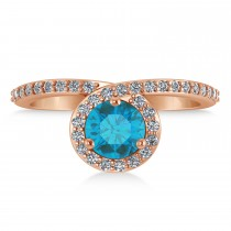 Round Blue & White Diamond Nouveau Ring 18K Rose Gold (1.11 ctw)