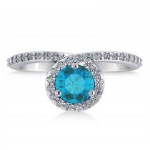 Round Blue & White Diamond Nouveau Ring 18K White Gold (1.11 ctw)