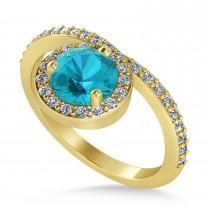 Round Blue & White Diamond Nouveau Ring 18K Yellow Gold (1.11 ctw)