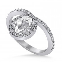 Oval White Diamond Nouveau Ring 14k White Gold (1.11 ctw)