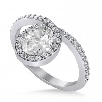 Oval Moissanite & Diamond Nouveau Ring 14k White Gold (1.11 ctw)