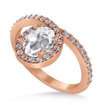 Oval White Diamond Nouveau Ring 18k Rose Gold (1.11 ctw)