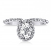 Oval White Diamond Nouveau Ring 18k White Gold (1.11 ctw)