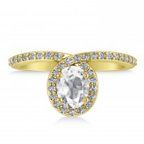 Oval White Diamond Nouveau Ring 18k Yellow Gold (1.11 ctw)