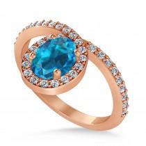 Oval Blue & White Diamond Nouveau Ring 14k Rose Gold (1.11 ctw)
