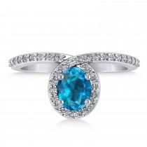 Oval Blue & White Diamond Nouveau Ring 14k White Gold (1.11 ctw)