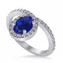 Oval Blue Sapphire Nouveau Ring 14k White Gold (1.36 ctw)