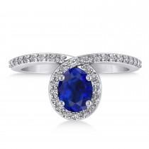 Oval Blue Sapphire Nouveau Ring 14k White Gold (1.36 ctw)|escape