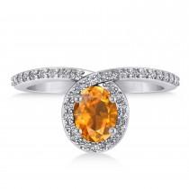 Oval Citrine & Diamond Nouveau Ring 14k White Gold (1.21 ctw)