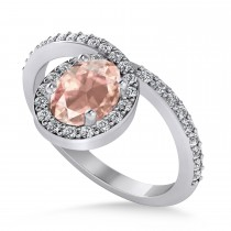 Oval Morganite & Diamond Nouveau Ring 14k White Gold (1.06 ctw)