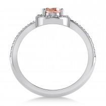 Oval Morganite & Diamond Nouveau Ring 14k White Gold (1.06 ctw)