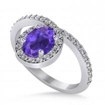 Oval Tanzanite & Diamond Nouveau Ring 14k White Gold (1.25 ctw)