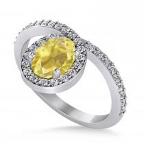 Oval Yellow & White Diamond Nouveau Ring 14k White Gold (1.11 ctw)
