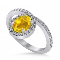 Oval Yellow Sapphire & Diamond Nouveau Ring 14k White Gold (1.36 ctw)