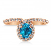 Oval Blue & White Diamond Nouveau Ring 18k Rose Gold (1.11 ctw)