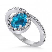 Oval Blue & White Diamond Nouveau Ring 18k White Gold (1.11 ctw)