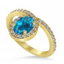 Oval Blue & White Diamond Nouveau Ring 18k Yellow Gold (1.11 ctw)