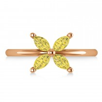 Yellow Diamond Flower Marquise Ring 14k Rose Gold (0.60 ctw)