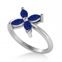 Blue Sapphire Flower Marquise Ring 14k White Gold (0.80 ctw)
