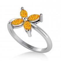 Citrine Flower Marquise Ring 14k White Gold (0.52 ctw)