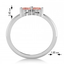 Morganite Flower Marquise Ring 14k White Gold (0.52 ctw)