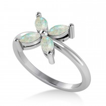 Opal Flower Marquise Ring 14k White Gold (0.40 ctw)