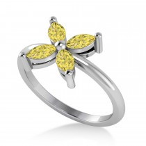Yellow Diamond Flower Marquise Ring 14k White Gold (0.60 ctw)