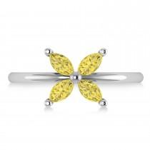 Yellow Diamond Flower Marquise Ring 14k White Gold (0.60 ctw)