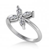 Diamond Marquise Flower Ring 14k White Gold (0.60 ctw)