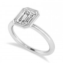 Emerald-Cut Bezel-Set Diamond Solitaire Ring 14k White Gold (1.00 ctw)