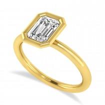 Emerald-Cut Bezel-Set Diamond Solitaire Ring 14k Yellow Gold (1.00 ctw)