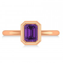 Emerald-Cut Bezel-Set Amethyst Solitaire Ring 14k Rose Gold (1.00 ctw)