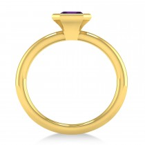 Emerald-Cut Bezel-Set Amethyst Solitaire Ring 14k Yellow Gold (1.00 ctw)