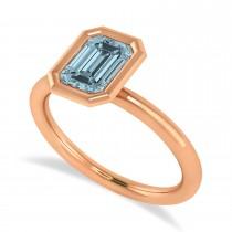 Emerald-Cut Bezel-Set Aquamarine Solitaire Ring 14k Rose Gold (1.00 ctw)