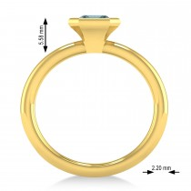 Emerald-Cut Bezel-Set Aquamarine Solitaire Ring 14k Yellow Gold (1.00 ctw)
