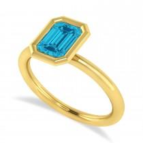 Emerald-Cut Bezel-Set Blue Diamond Solitaire Ring 14k Yellow Gold (1.00 ctw)