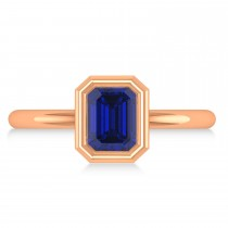 Emerald-Cut Bezel-Set Blue Sapphire Solitaire Ring 14k Rose Gold (1.00 ctw)