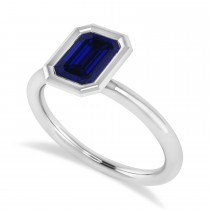 Emerald-Cut Bezel-Set Blue Sapphire Solitaire Ring 14k White Gold (1.00 ctw)