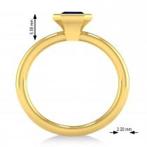 Emerald-Cut Bezel-Set Blue Sapphire Solitaire Ring 14k Yellow Gold (1.00 ctw)