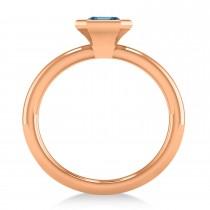 Emerald-Cut Bezel-Set Blue Topaz Solitaire Ring 14k Rose Gold (1.00 ctw)