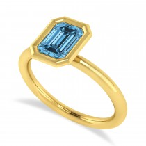 Emerald-Cut Bezel-Set Blue Topaz Solitaire Ring 14k Yellow Gold (1.00 ctw)