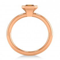 Emerald-Cut Bezel-Set Citrine Solitaire Ring 14k Rose Gold (1.00 ctw)