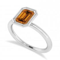 Emerald-Cut Bezel-Set Citrine Solitaire Ring 14k White Gold (1.00 ctw)