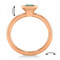 Emerald-Cut Bezel-Set Emerald Solitaire Ring 14k Rose Gold (1.00 ctw)