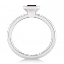 Emerald-Cut Bezel-Set Garnet Solitaire Ring 14k White Gold (1.00 ctw)