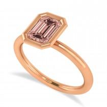 Emerald-Cut Bezel-Set Morganite Solitaire Ring 14k Rose Gold (1.00 ctw)