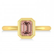 Emerald-Cut Bezel-Set Morganite Solitaire Ring 14k Yellow Gold (1.00 ctw)