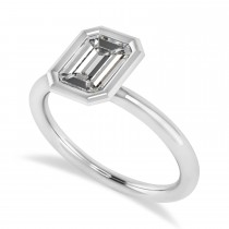 Emerald-Cut Bezel-Set Moissanite Solitaire Ring 14k White Gold (1.00 ctw)