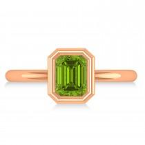 Emerald-Cut Bezel-Set Peridot Solitaire Ring 14k Rose Gold (1.00 ctw)
